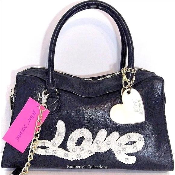 Betsey Johnson Handbags - BETSEY JOHNSON Black Handbag LOVE Crossbody Purse